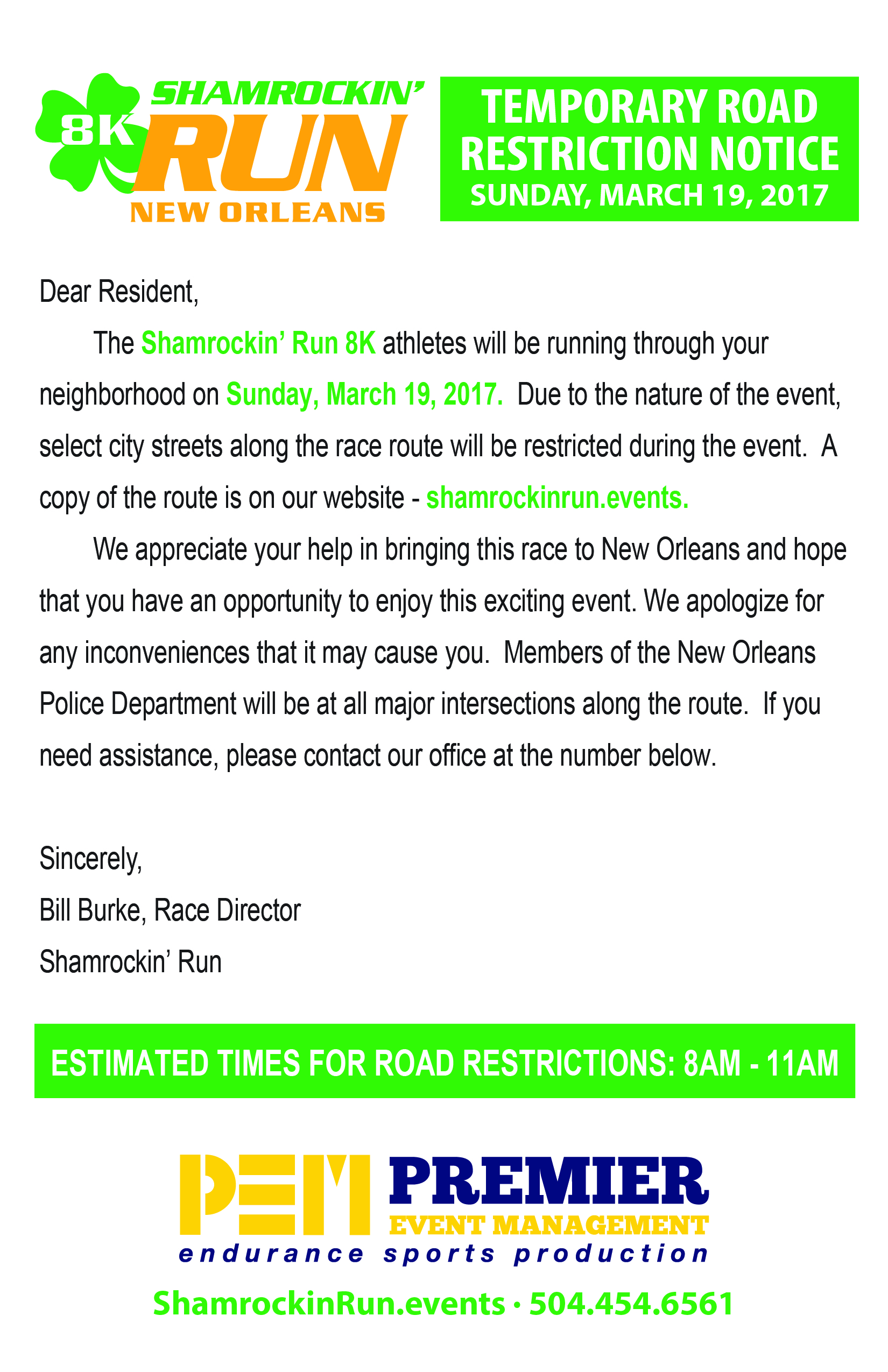 PUBLIC NOTICE: 2017 Shamrockin' Run Temporary Road Closures